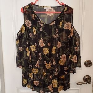 Cold shoulder sheer blouse 2X style&co